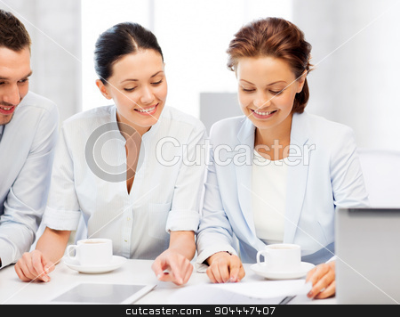 business team having discussion in office stock photo, friendly business team having discussion in office by Syda Productions