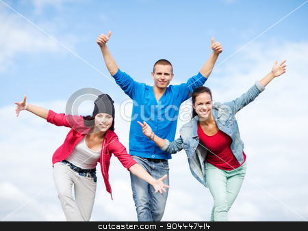 group of teenagers dancing stock photo, sport, dancing and urban culture concept - group of teenagers dancing by Syda Productions