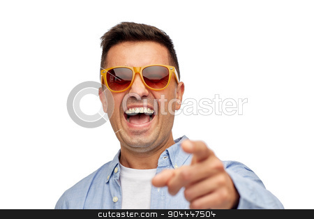 face of smiling man in shirt and sunglasses stock photo, summer, style, emotions and people concept - face of smiling middle aged latin man in shirt and sunglasses by Syda Productions