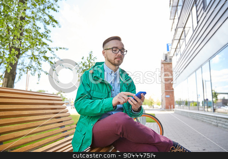 happy young hipster man with smartphone and bike stock photo, people, style, technology and lifestyle - happy young hipster man with smartphone and fixie bike sitting on bench in city by Syda Productions