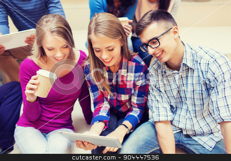 group of students with tablet pc and coffee cup stock photo, education, friendship, technology, drinks and people concept - group of smiling students with tablet pc computers and paper coffee cup by Syda Productions