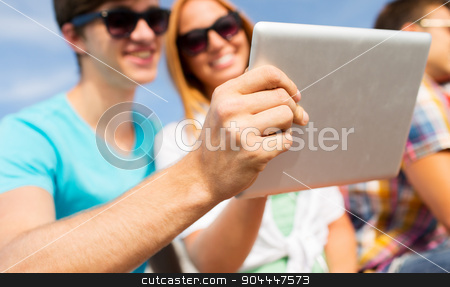 happy couple with tablet pc taking selfie outdoors stock photo, friendship, leisure, summer, technology and people concept - close up of happy couple with tablet pc computer taking selfie sitting outdoors by Syda Productions