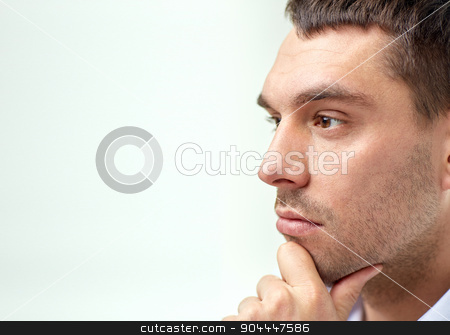close up of businessman male face stock photo, business, people and work concept - close up of businessman male face by Syda Productions