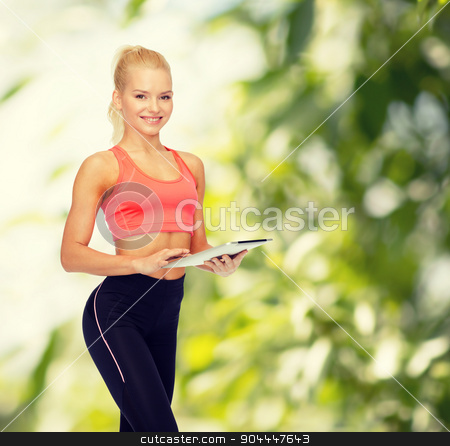 smiling sporty woman with tablet pc computer stock photo, sport, exercise, technology, internet and healthcare - smiling sporty woman with tablet pc computer by Syda Productions