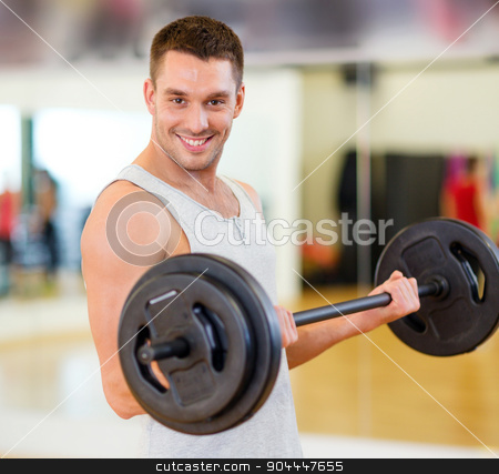 smiling man with barbell in gym stock photo, fitness, sport, training, gym and lifestyle concept - smiling man with barbell in gym by Syda Productions