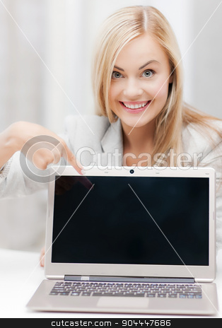 businesswoman with laptop computer stock photo, picture of smiling businesswoman with laptop computer by Syda Productions
