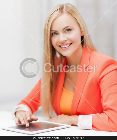 woman with tablet pc stock photo, picture of smiling woman with tablet pc by Syda Productions