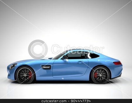 Sports car left view. The image of a sports blue car on a white background. stock photo, Sports car left view. The image of a sports blue car on a white background by Vladimir Khapaev