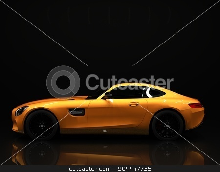 Sports car left view. The image of a sports gold car on a black background. stock photo, Sports car left view. The image of a sports gold car on a black background by Vladimir Khapaev