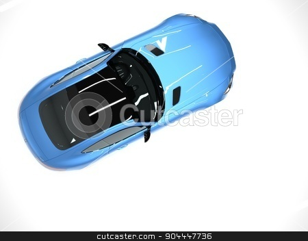 Sports car top view. The image of a sports blue car on a white background. stock photo, Sports car top view. The image of a sports blue car on a white background by Vladimir Khapaev