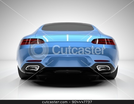 Sports car rear view. The image of a sports blue car on a white background. stock photo, Sports car rear view. The image of a sports blue car on a white background by Vladimir Khapaev