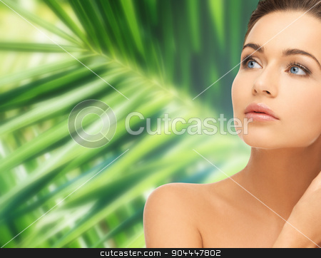 woman touching her face skin stock photo, health and beauty concept - beautiful woman touching her face skin by Syda Productions