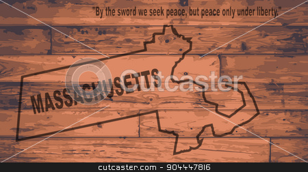 Massachusetts Map Brand stock vector clipart, Massachusetts state map brand on wooden boards with map outline and state motto by Kotto