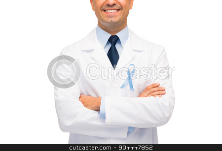 happy doctor with prostate cancer awareness ribbon stock photo, healthcare, profession, people and medicine concept - close up of smiling male doctor in white coat with sky blue prostate cancer awareness ribbon by Syda Productions