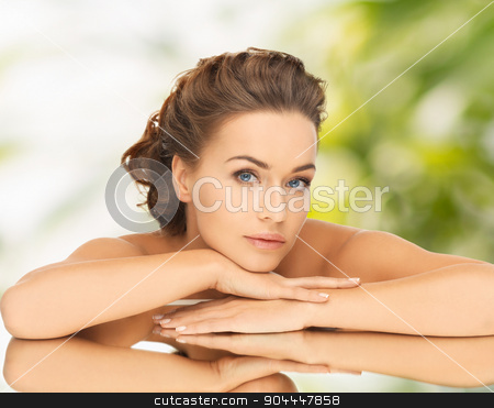 beautiful woman with updo and mirror stock photo, health and beauty concept - dreaming woman with updo and mirror by Syda Productions