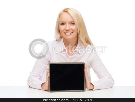 smiling businesswoman or student with tablet pc stock photo, education, business and technology concept - smiling businesswoman or student showing tablet pc computer blank screen over white background by Syda Productions