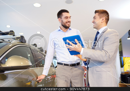 happy man with car dealer in auto show or salon stock photo, auto business, car sale, technology and people concept - happy man and car dealer with tablet pc computer in auto show or salon by Syda Productions