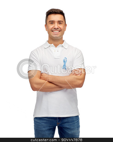 happy man with prostate cancer awareness ribbon stock photo, medicine, health care, gesture and people concept - middle aged latin man in t-shirt with blue prostate cancer awareness ribbon pointing finger on himself by Syda Productions