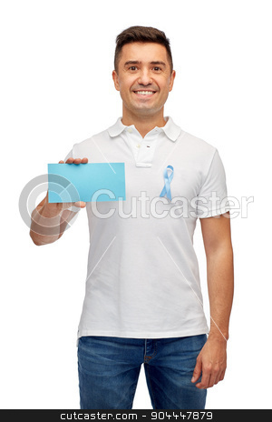 man with prostate cancer awareness ribbon and card stock photo, medicine, health care, gesture and people concept - middle aged latin man in t-shirt with sky blue prostate cancer awareness ribbon holding blank paper card by Syda Productions