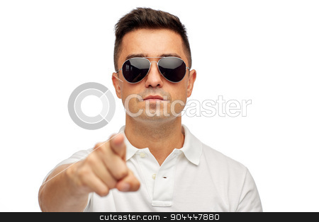 face of man in polo t-shirt and sunglasses stock photo, summer, accessories, style and people concept - face of middle aged latin man in white polo t-shirt and sunglasses by Syda Productions