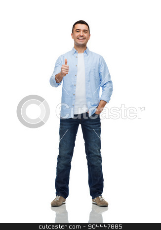 smiling man showing thumbs up stock photo, happiness, gesture and people concept - smiling man showing thumbs up by Syda Productions