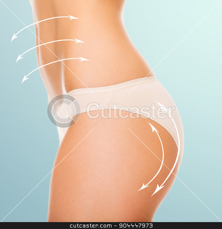 woman in cotton underwear showing slimming concept stock photo, health and beauty - woman in cotton underwear showing slimming concept by Syda Productions