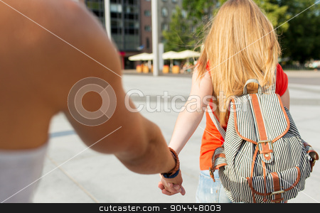 close up of couple with backpacks in city stock photo, travel, summer vacation, tourism and love concept - close up of couple with backpack in city by Syda Productions