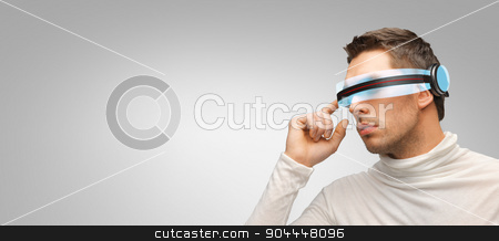 man with futuristic 3d glasses and sensors stock photo, people, technology, future and progress - man with futuristic 3d glasses over gray background by Syda Productions
