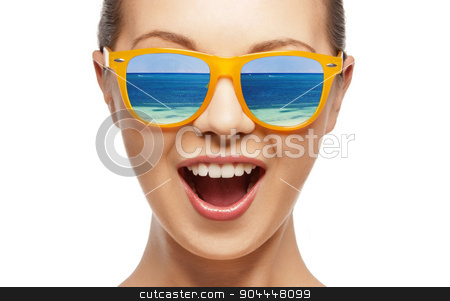 amazed girl in shades stock photo, amazed girl in shades with beach reflection by Syda Productions