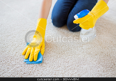 close up of woman with cloth cleaning carpet stock photo, people, housework and housekeeping concept - close up of woman in rubber gloves with cloth and detergent spray cleaning carpet at home by Syda Productions