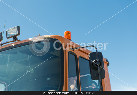 close up of road service car cabin with flasher stock photo, transportation, transport and vehicle parts concept - close up of road service car cabin with flasher by Syda Productions
