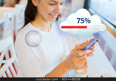 close up of woman with smartphone cloud computing stock photo, people, technology and cloud computing concept - close up of happy woman with smartphone sharing or uploading files at office or home by Syda Productions