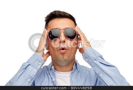 face of scared man in shirt and sunglasses stock photo, summer, emotions, style and people concept - face of scared or surprised middle aged latin man in shirt and sunglasses by Syda Productions