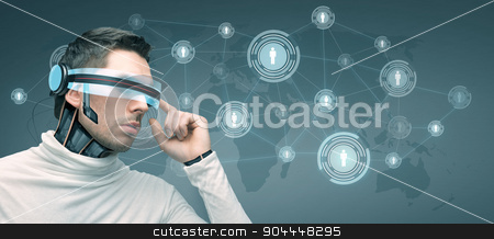 man with futuristic 3d glasses and sensors stock photo, people, technology, future and progress - man with futuristic 3d glasses and microchip implant or sensors over blue background with world map and network contacts icons by Syda Productions