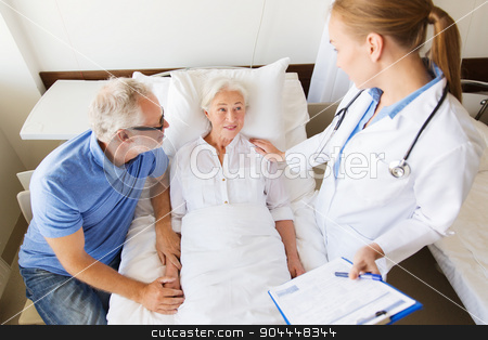 senior woman and doctor with clipboard at hospital stock photo, medicine, age, health care and people concept - senior woman, man and doctor with clipboard at hospital ward by Syda Productions