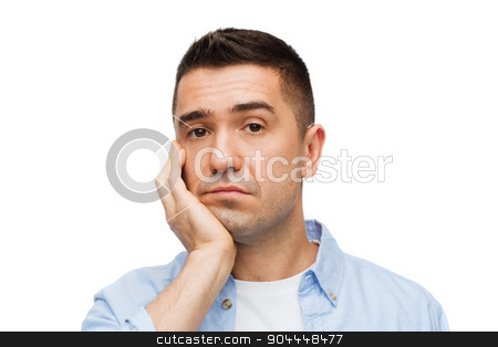 sad middle aged man stock photo, emotions and people concept - sad middle aged man by Syda Productions