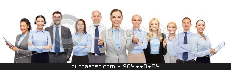 group of happy businesspeople showing thumbs up stock photo, business, people, corporate, teamwork and office concept - group of happy businesspeople showing thumbs up by Syda Productions