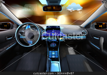 car salon with navigation system and meteo sensors stock photo, transport, destination and modern technology concept - car salon with navigation system on dashboard and meteo sensor on windshield over night lights background  by Syda Productions