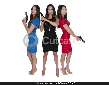 Female Detectives stock photo, Beautiful police detective women on the job with guns by Robert Byron