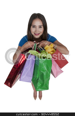 Woman Shopping Bags stock photo, Beautiful young woman on a shopping spree by Robert Byron