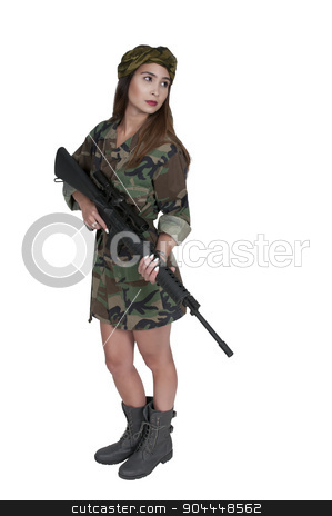 Woman Soldier stock photo, Beautiful young woman soldier with a M16 rifle by Robert Byron
