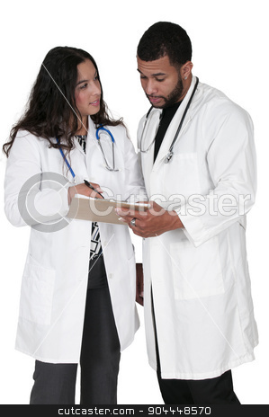 Beautiful Woman Surgeon stock photo, Young doctors in lab coats discussing a patient record by Robert Byron