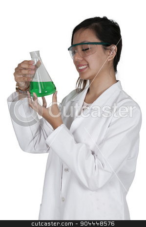 Woman Scientist stock photo, Beautiful woman scientist investigating a glass beaker by Robert Byron
