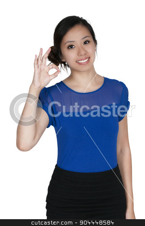 Woman Okay Sign stock photo, Smiling beautiful woman giving the okay sign by Robert Byron