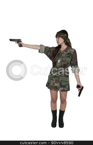 Asian Woman Soldier stock photo, Beautiful young Asian woman soldier with a gun by Robert Byron