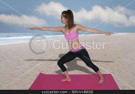 Woman Doing Yoga stock photo, Beautiful woman doing her Yoga stance exercises by Robert Byron