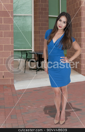 Beautiful Woman stock photo, Beautiful young sexy woman in a dress and heels posing by Robert Byron