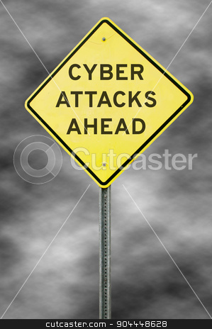 Cyber Attacks Ahead stock photo, Caution yellow warning type American road sign that warns of cyber attacks ahead by Robert Byron