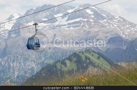 Lenk im Simmental, Switzerland - July 12, 2015: Ski lift in moun stock photo, Lenk im Simmental, Switzerland - July 12, 2015: Ski lift in mountain during the summer. The village is located in the canton Bern, Lenk, August 12, 2015 by michaklootwijk