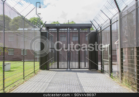 Large gate at an old jail stock photo, Large gate at an old dutch jail by michaklootwijk